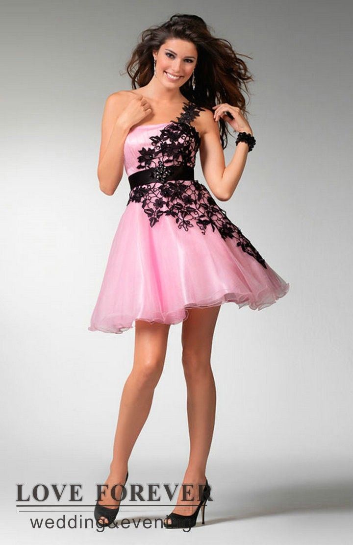 One Shoulder Best Selling Black and White Pink Organza Lace Sexy ...