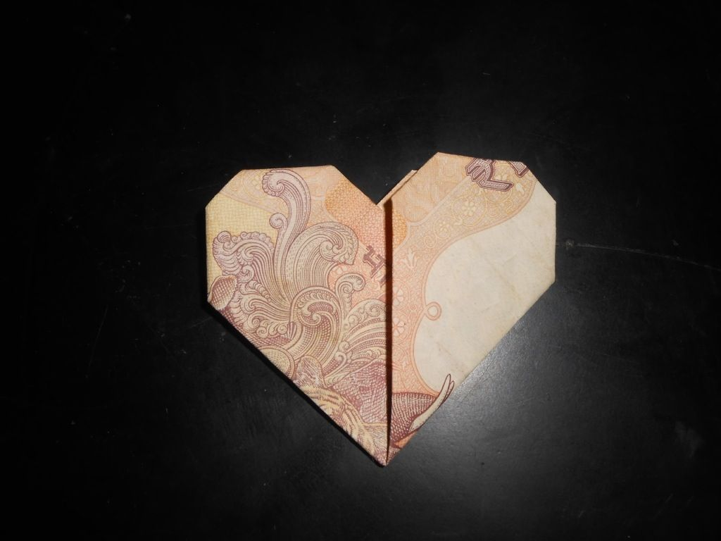 Currency bill origami heart