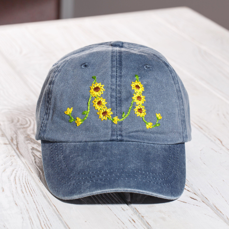 Hand Embroidered Flower Monogram Baseball Cap Personalized Etsy Hand Embroidered Hand Embroidered Pendant Monogram Hats
