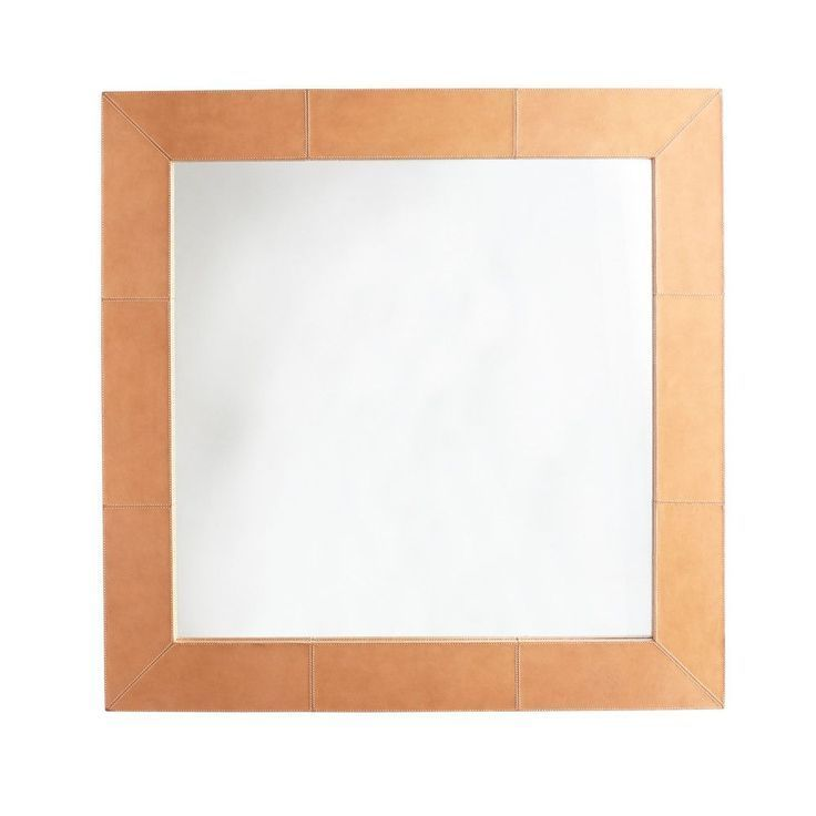 Country Home Accessories Mirror  Saddle Leather Mirror Square