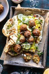 Falafel Naan Wraps with Golden Rice and Special Sauce. , Falafel Naan Wraps with Golden Rice and Special Sauce | halfbakedharvest.com #falafel #wraps #middleeastern #vegan...