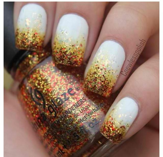 make-up, nails, white, glitter, fall colors | Chic nails | Pinterest ...