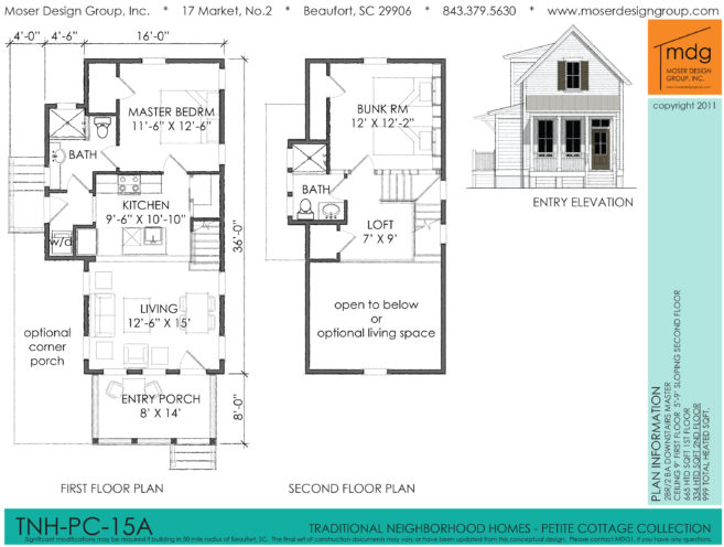 Moser Design Group Tnh Pc 15a 2 Bed 2 Bath 999 Sf Master Down House Plans Online House Plans Cottage