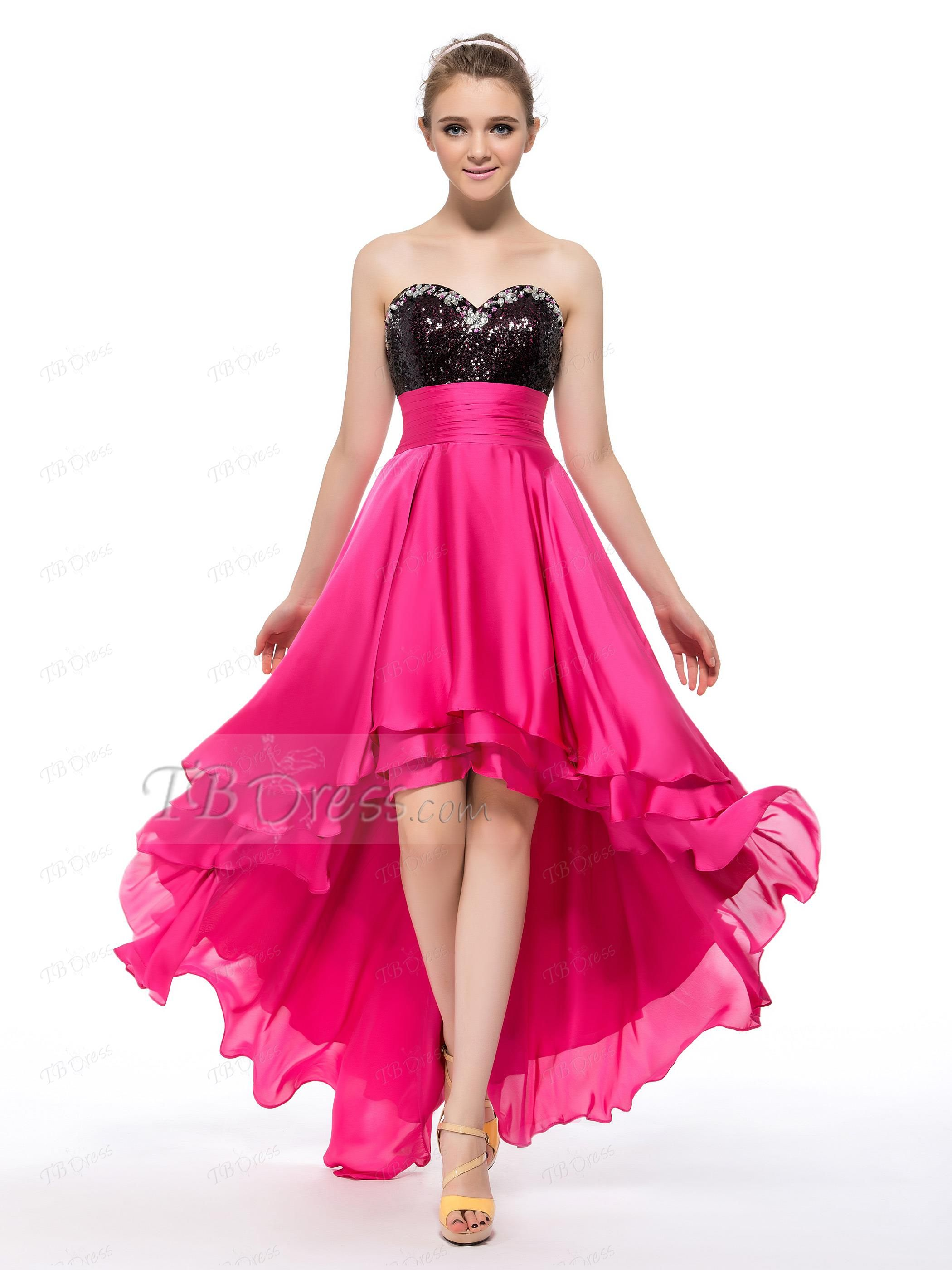 Sweetheart High-Low Length Sequins Prom/Homecoming Dress | Prom ...