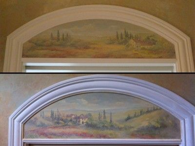 Demitasse Murals over doors, part of master bath project created for designer Sharon Flatley. www.artisanfinishes.net