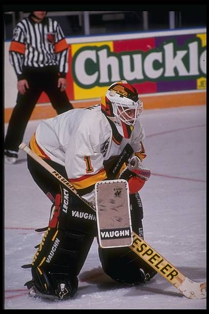 Goaltender Kirk McLean of the Vancouver Canucks looks on during a game  against the New York 7202a4f75