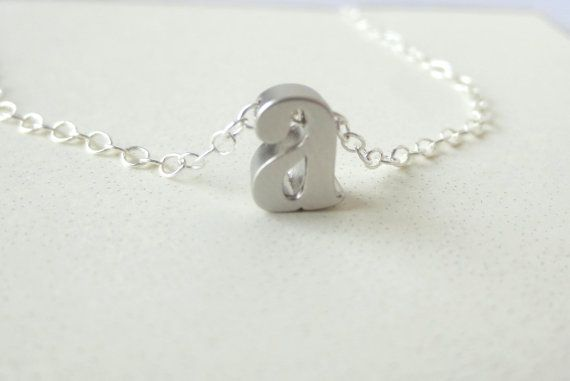 Mini Initial Sterling Necklace Charm by DreamWillowStudio on Etsy
