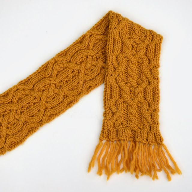 The Work is Getting to Me: Double mustard reversible cabled scarf ...