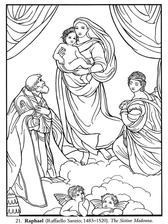 sistine madonna raphael coloring page