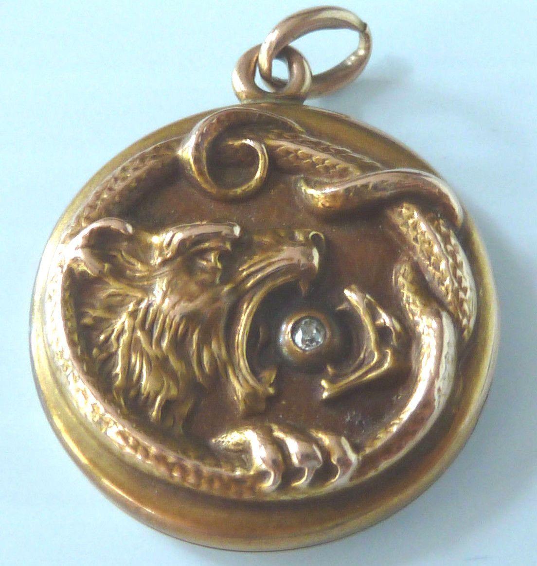 10 Karat Gold Round Locket w Diamond Between Mouth of Snake Lion Head   eBay