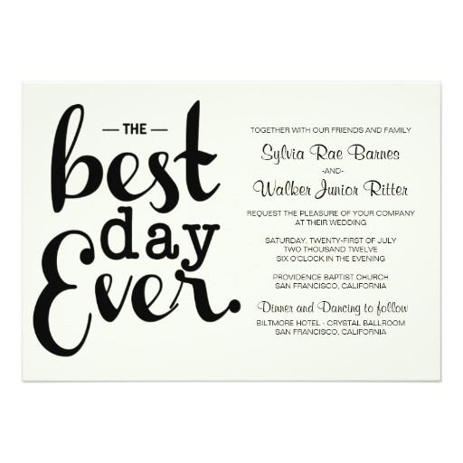 Wedding Reception Invitation Wording Funny: Ivory - Best Day Ever - Wedding Invitation