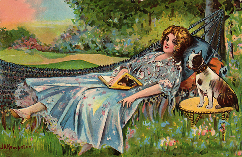 Ah, what a dream. A hammock, a good book, lovely shoes, a well-behaved dog fer company (we'll overlook the fact he's a-settin' on the table), and somewhere to the right of the scene, a large cake. Life is a Hammock