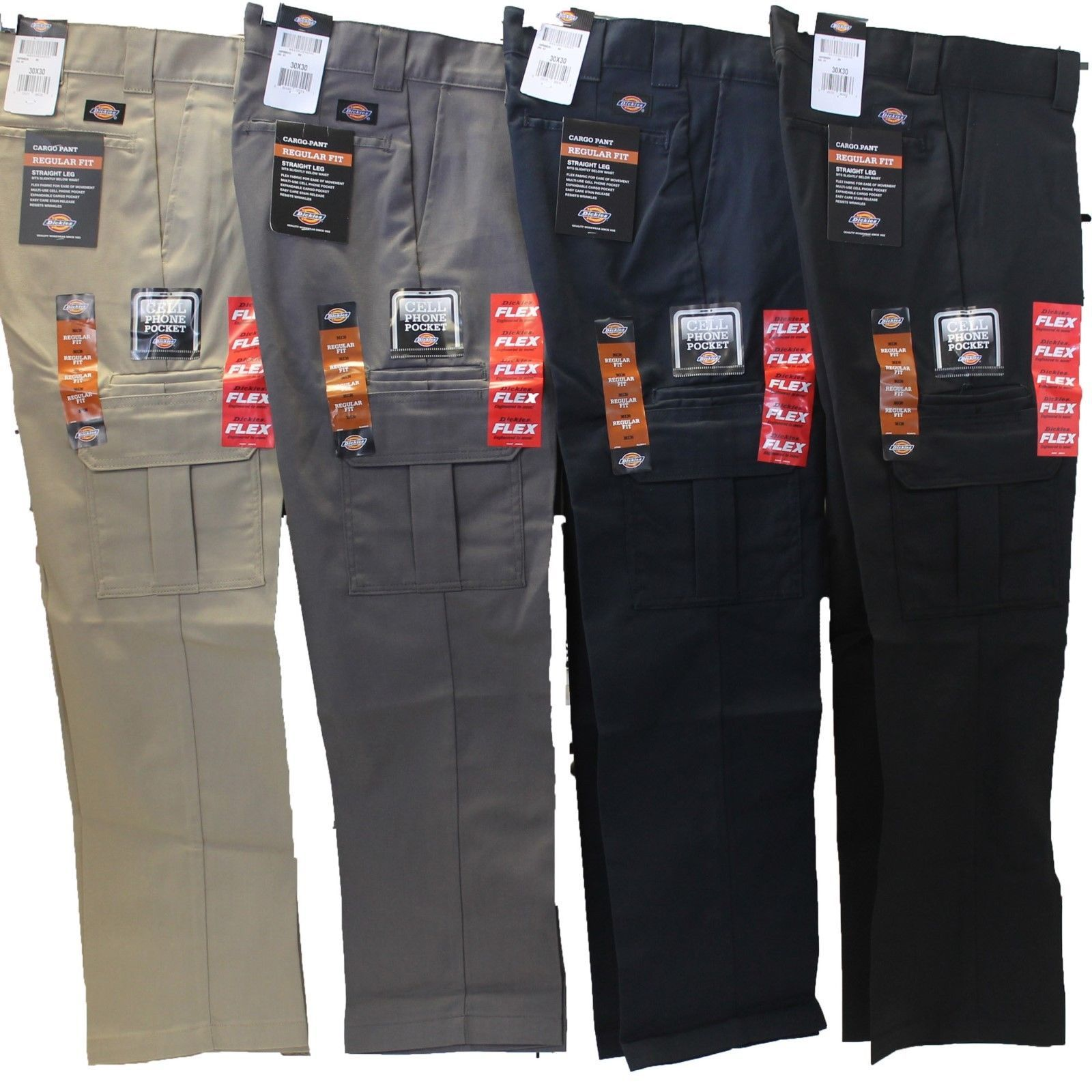 Mens Dickies Flex Wp595 Regular Fit Straight Leg Work Uniform Cargo