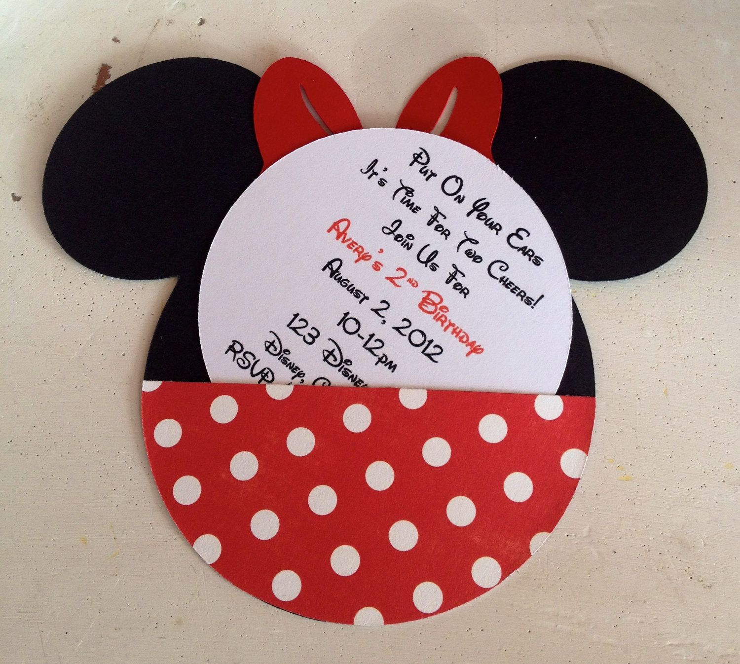 Handmade Custom Red Minnie Mouse Birthday Invitations- Set of 10 ...