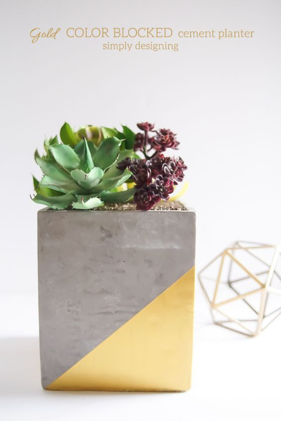 Great Gold Color Blocked Cement Planter