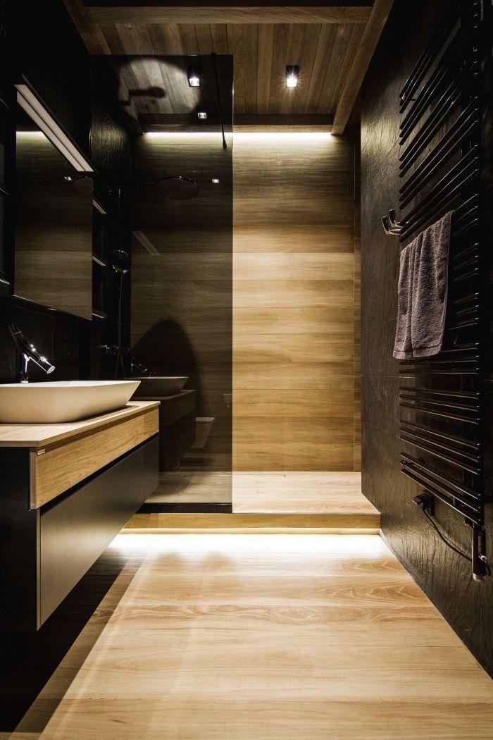 ▷ 1001 + exemples de la salle de bain en noir et bois contemporaine
