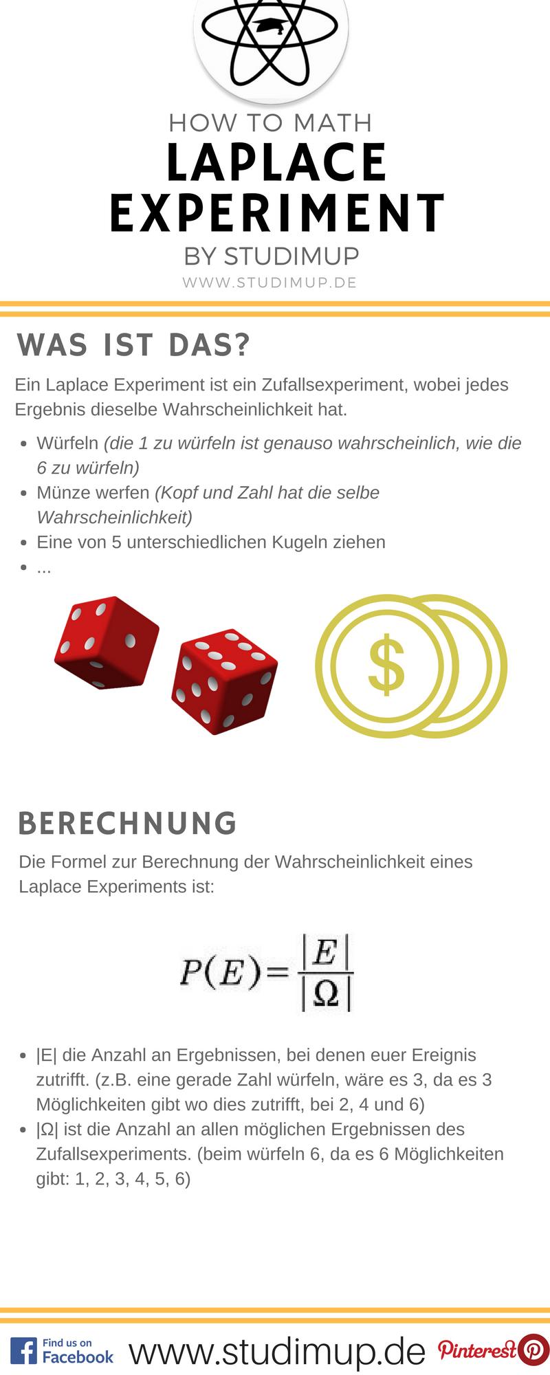 Das Laplace Experiment im Spickzettel erklärt von Studimup. Mathe ...