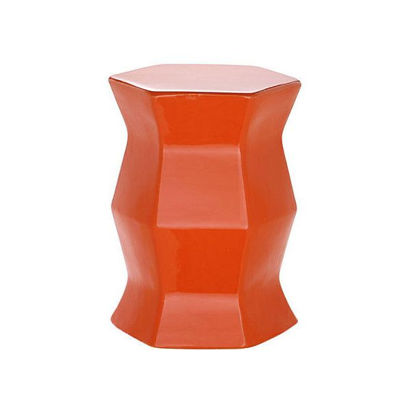 Laurel Geometric Garden Stool Orange Garden Stools ($109) ❤ liked on Polyvore featuring home, outdoors, patio furniture, outdoor stools, orange, orange end table, orange ceramic garden stool, ceramic garden stool, ceramic side table and orange garden stool