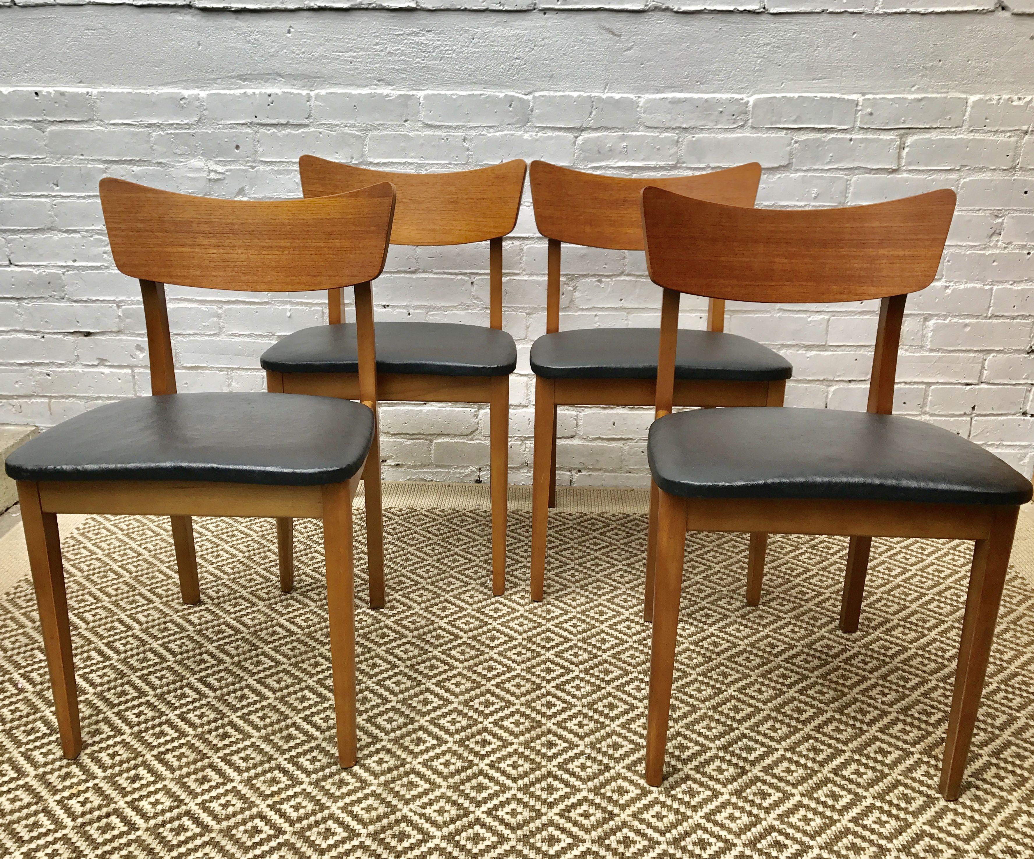 Fine 4 Mid Century Dining Chairs Black Vinyl Seats Dining Creativecarmelina Interior Chair Design Creativecarmelinacom