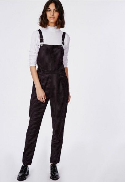 bffa08bc7a20 Tailored Pinstripe Dungarees Black - Jumpsuits - Missguided