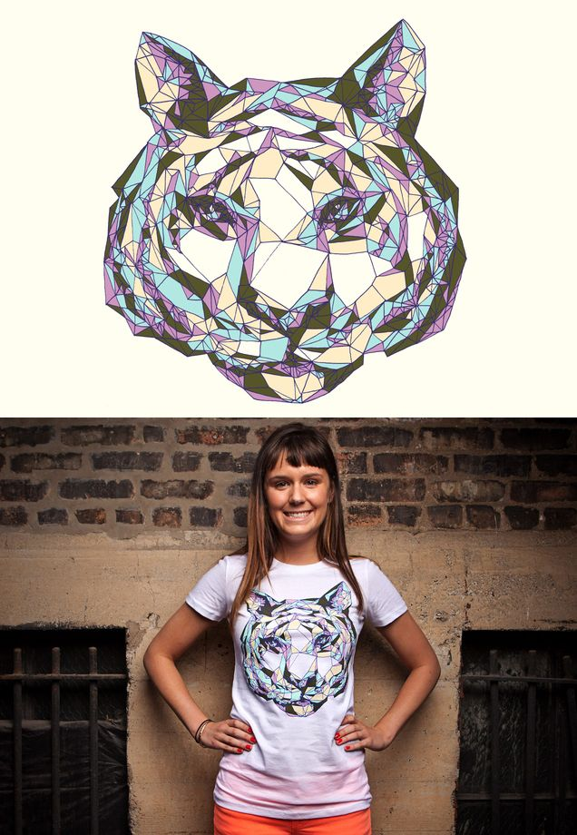"Threadless tee ""Crystal Tiger"" by Julia Sonmi Heglund - released May 21, 2012"