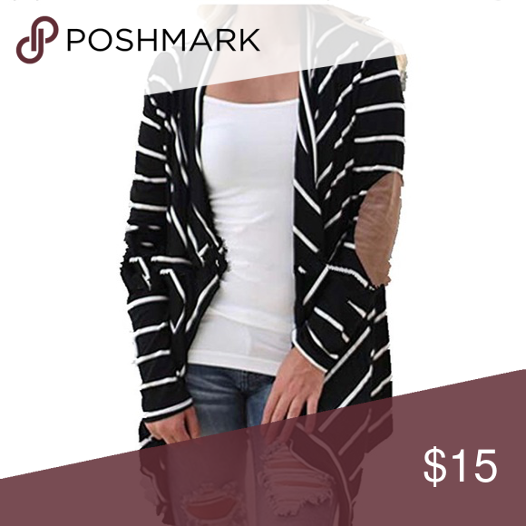 Cardigan Black and white cotton cardigan with leather elbow accents Other