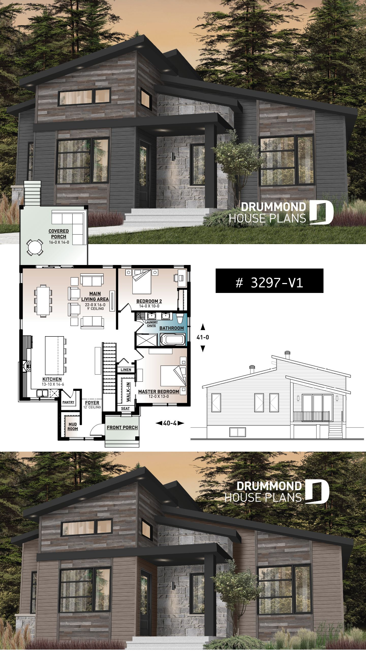 Discover The Plan 3297 V1 Oxford 2 Which Will Please You For Its 2 Bedrooms And For Its Modern Rustic Styles Contemporary House Plans Sims House Plans House Styles