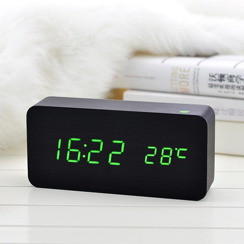 Temperature Sounds Control Calendar Led Display Electronic Desktop Digital Wooden Clock Led Alarm Clock Digital Table Clock Alarm Clock