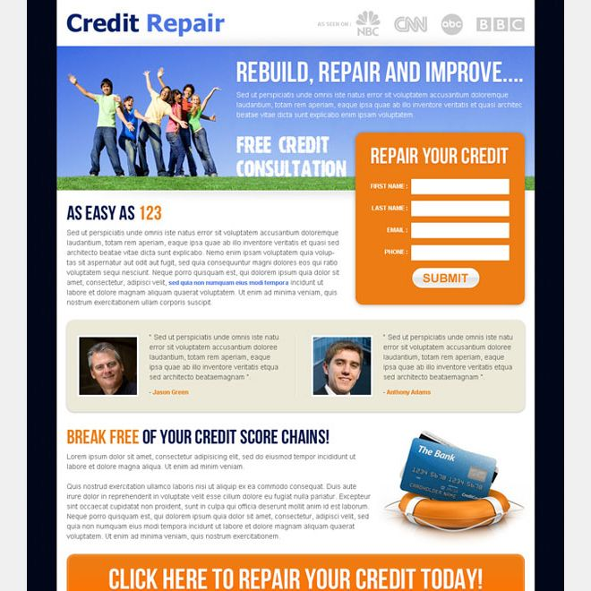 Buy Landing Page Templates | Https Www Buylandingpagedesign Com Example Credit Repair Service