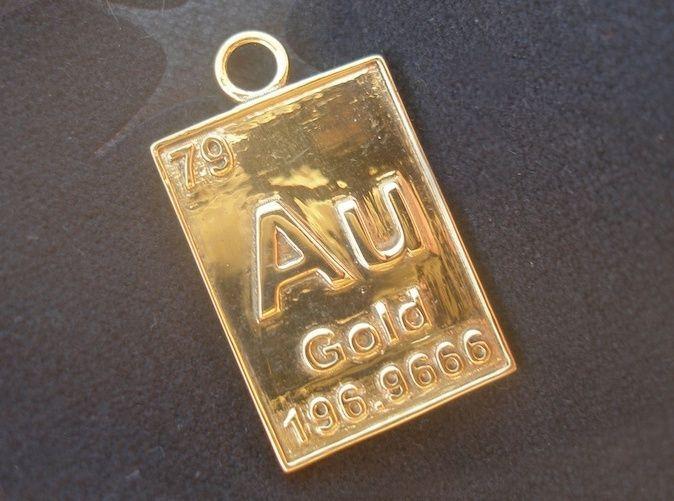 gold periodic table pendant - Au Pendant Periodic Table