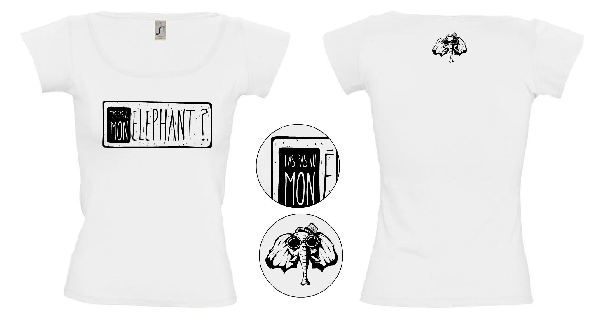 """Tee-shirt femme Blanc comme Neige Création de t-shirts avec des créateurs du collectif """"T'as pas vu mon éléphant?"""" Site de créations fait main et d'illustrations. www.tpvme.com"""