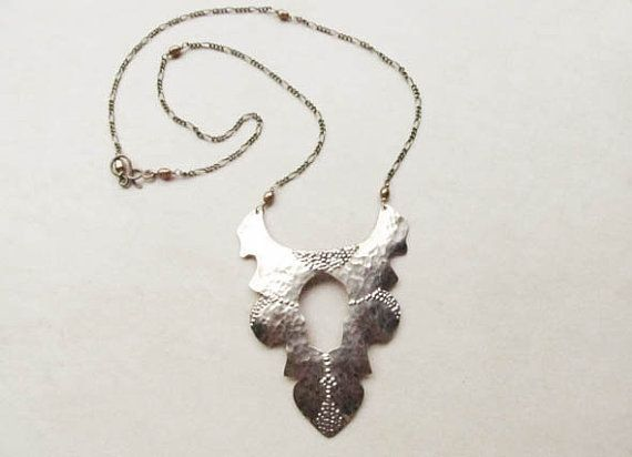 Tribal Artisan Statement Necklace Shield Bohemian by GemmaLuna