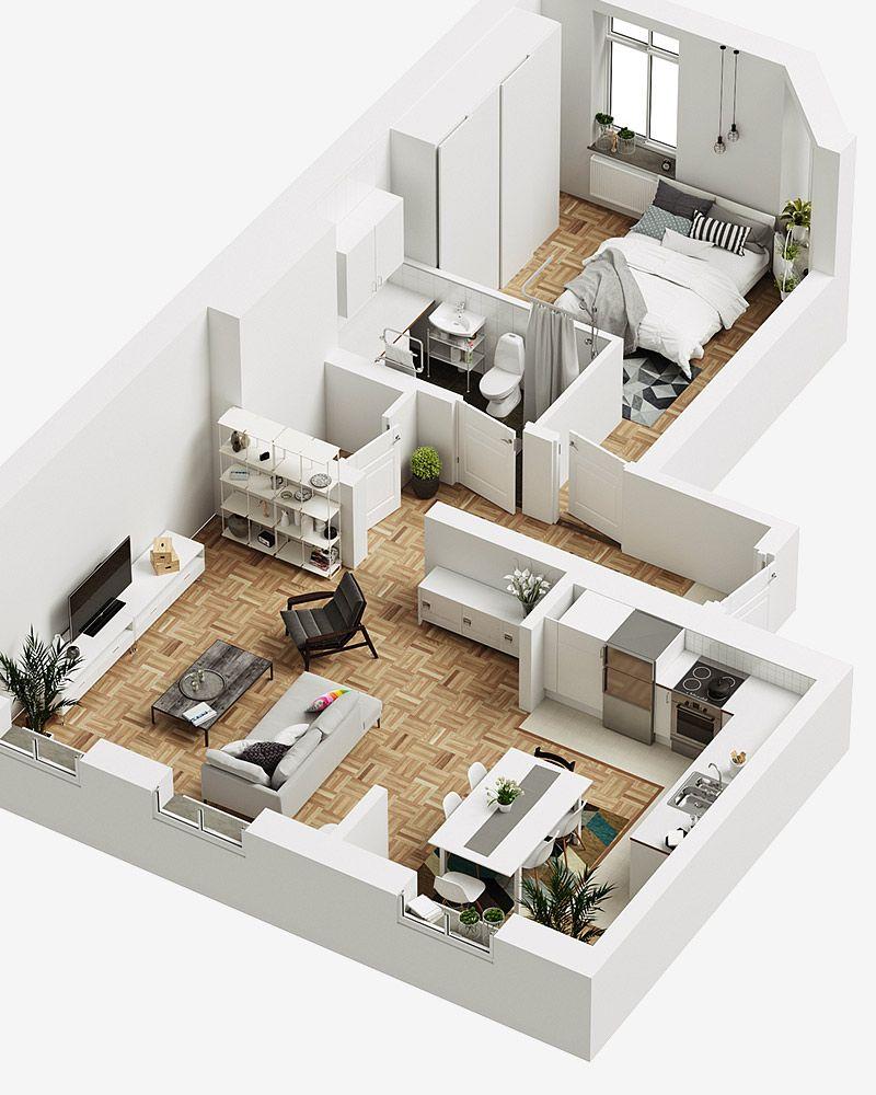 Visualizaci n en 3d creative army arquitectura en 2019 for Planos de casas pequenas en 3d