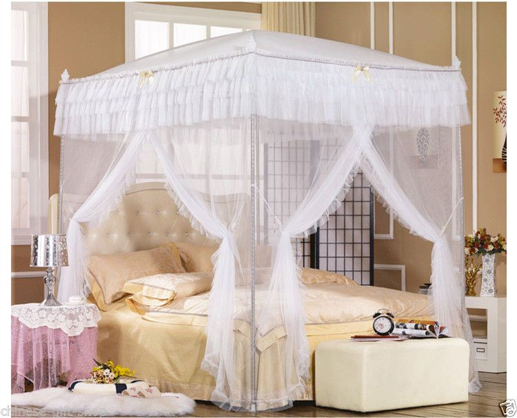Balinese Bed Canopy Curtain Mosquito Net frames queen king 185cmx205cm Purple : canopy curtains for queen bed - memphite.com