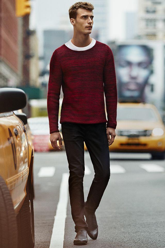 Burgundy purl-knit sweater and black slim fit pants. #HMMEN