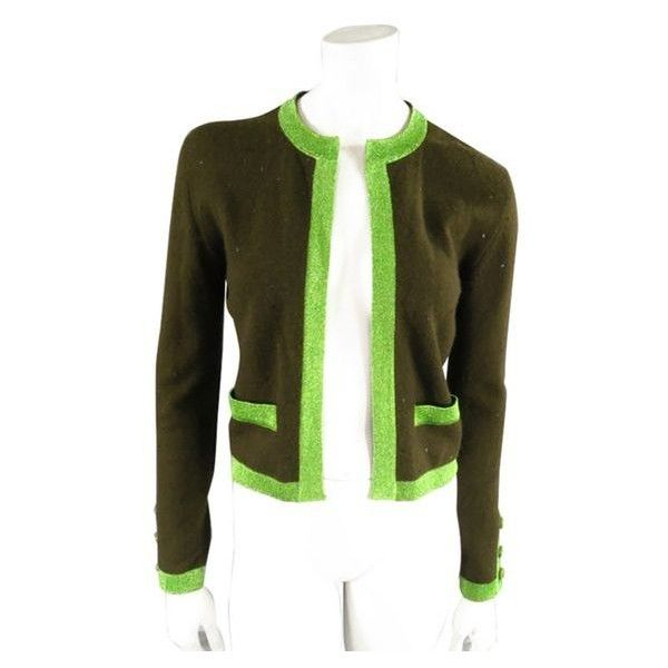 Pre-Owned Chanel Size 6 Olive Sequin Cashmere Green Sparkle Lurex ...