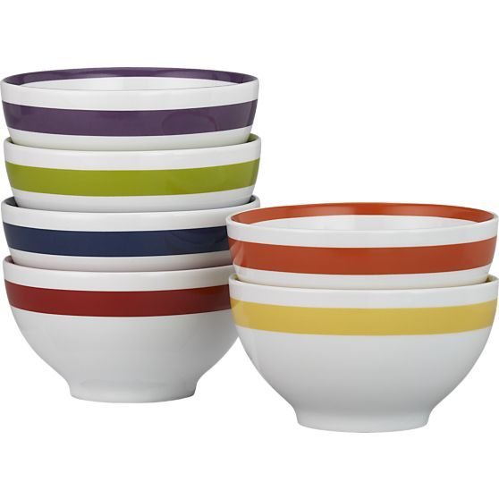"Amethyst Stripe 6"" Bowl in Individual Bowls 