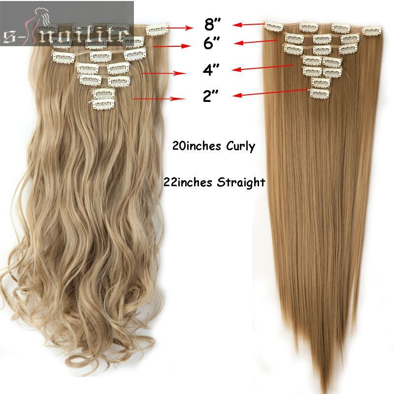 S Noilite 7pcs Set Real Thick Full Head Clip In Hair Extensions 16