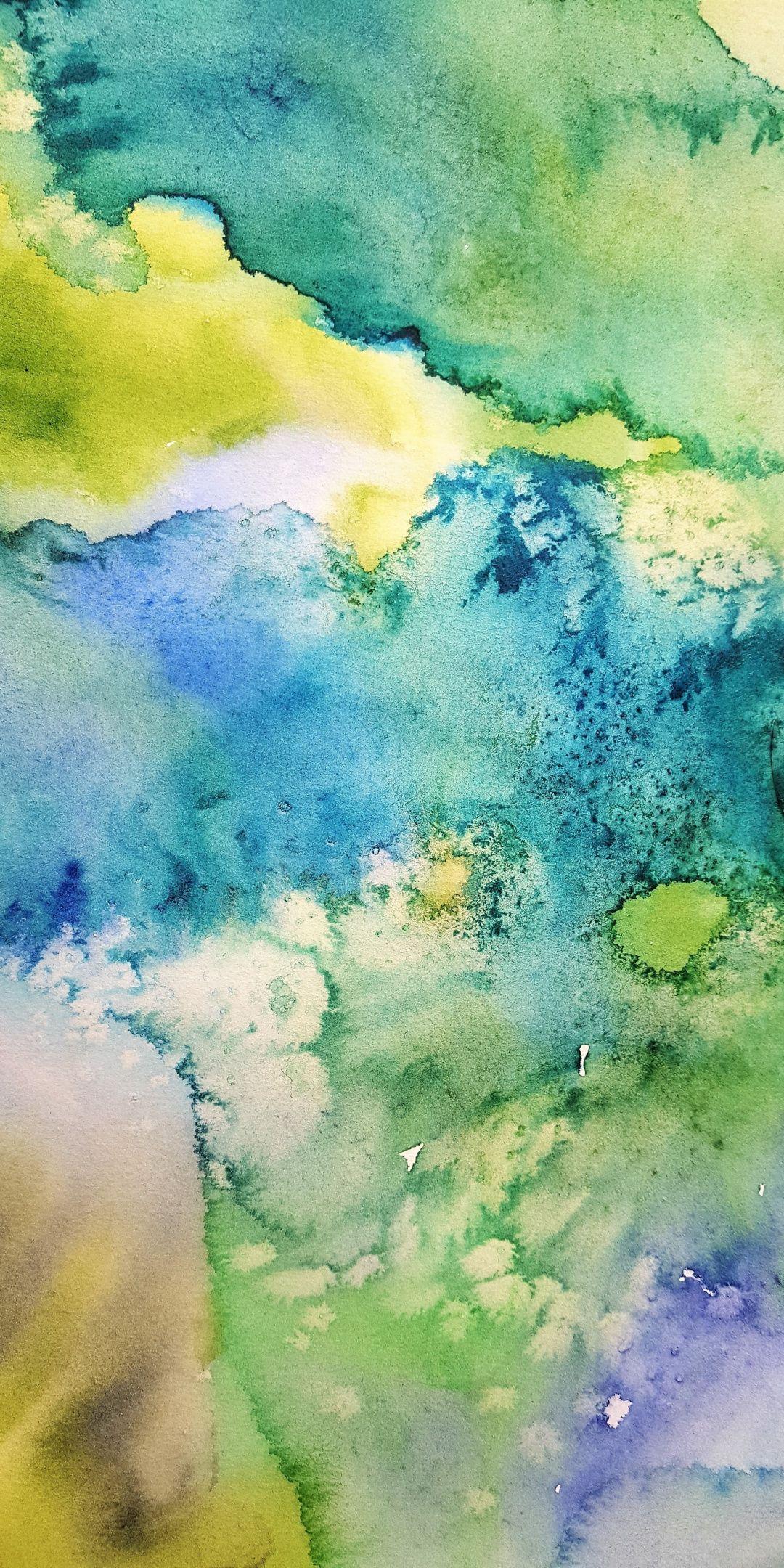 Bluegreen, watercolor, artwork, 1080x2160 wallpaper