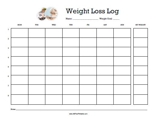 Free Printable Weight Loss Log  All Free Printable