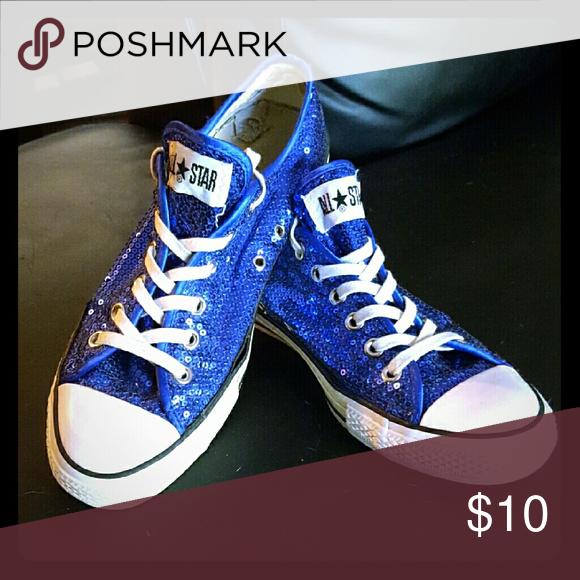 sparkly blue converse shoes