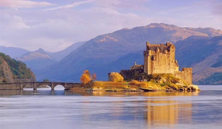 Eilean Donan castle sits on a tiny island in Loch Duich, in the Scottish western Highlands