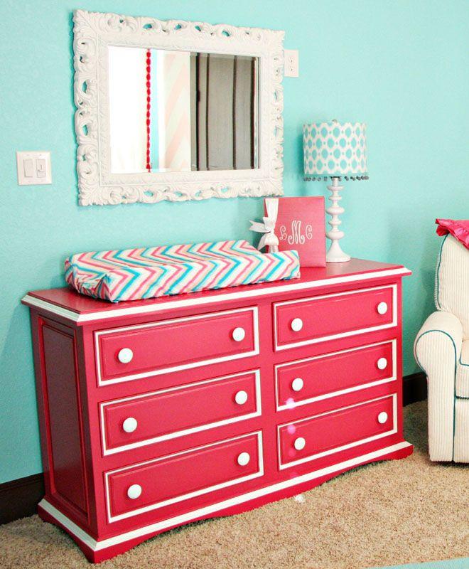 Hogan Six Drawer Scalloped Dresser Pink Dresserstriped Dresserdresser Mirrordresser
