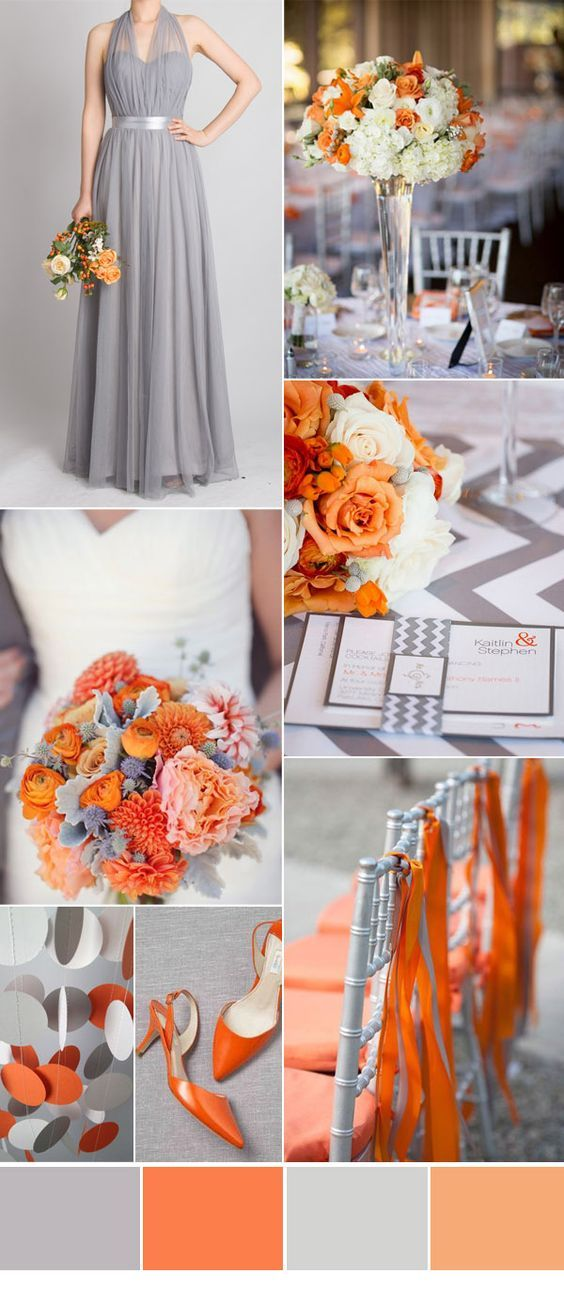 grey and orange autumn wedding color ideas is part of Fall wedding colors -