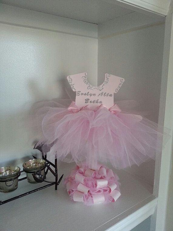 Double Sided Personalized Pink TuTu Dress Centerpiece / Ballerina ...