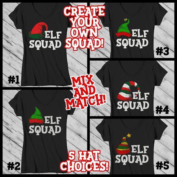 2979ba4a Women's Elf Shirt Elf Outfit Christmas Shirt Elf Hat Tee Elf Squad Shirt  Matching Christmas Shirts