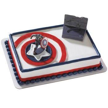 Captain America Birthday Cake I Think They Have This One At Food City Captain America Birthday Cake America Themed Party Cake Decorating Kits