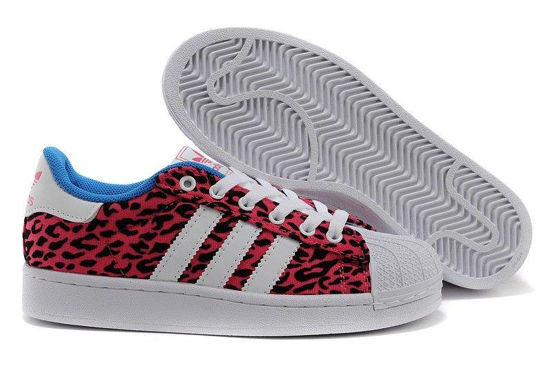 zapatillas adidas superstar 2 mujer lite canvas leopard rojas blancas