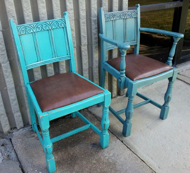 old oak chairs in turquoise and sea blue both distressed and with