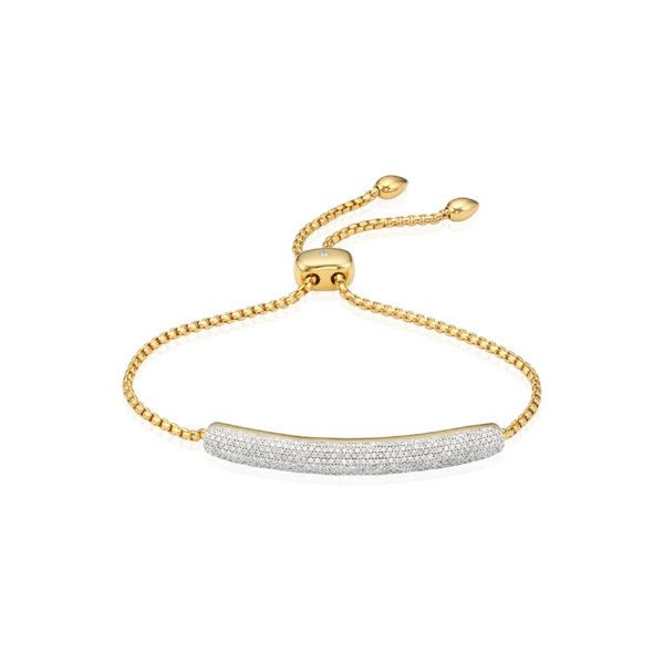 Monica Vinader Gold Vermeil Esencia Diamond Bar Bracelet - Diamond ($2,595) ❤ liked on Polyvore featuring jewelry, bracelets, gold, chains jewelry, diamond jewelry, adjustable bangle, diamond jewellery and monica vinader